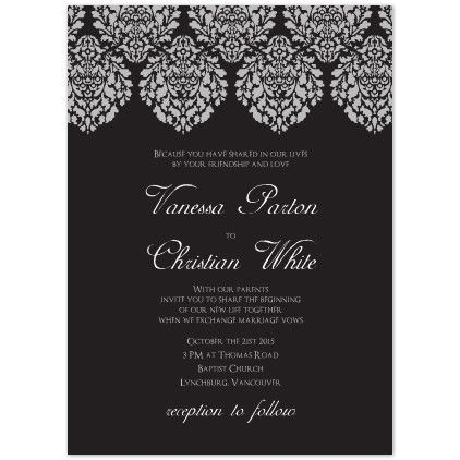 unique wedding invitation printables formal damask flowers free