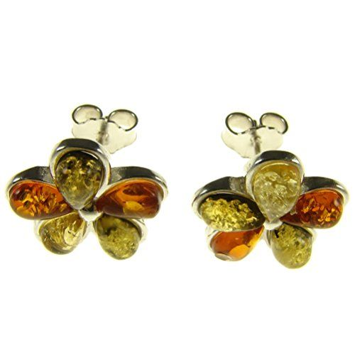 Baltic amber and sterling silver 925 multi-coloured flower leaf stud earrings jewellery jewelry UazOc