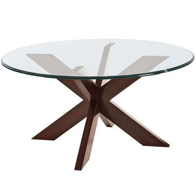 """A big """"X"""" marks this modern treasure. With sleek lines, smooth acacia wood construction and a dark espresso finish, it definitely has a wow factor. 30"""" glass top sold separately."""