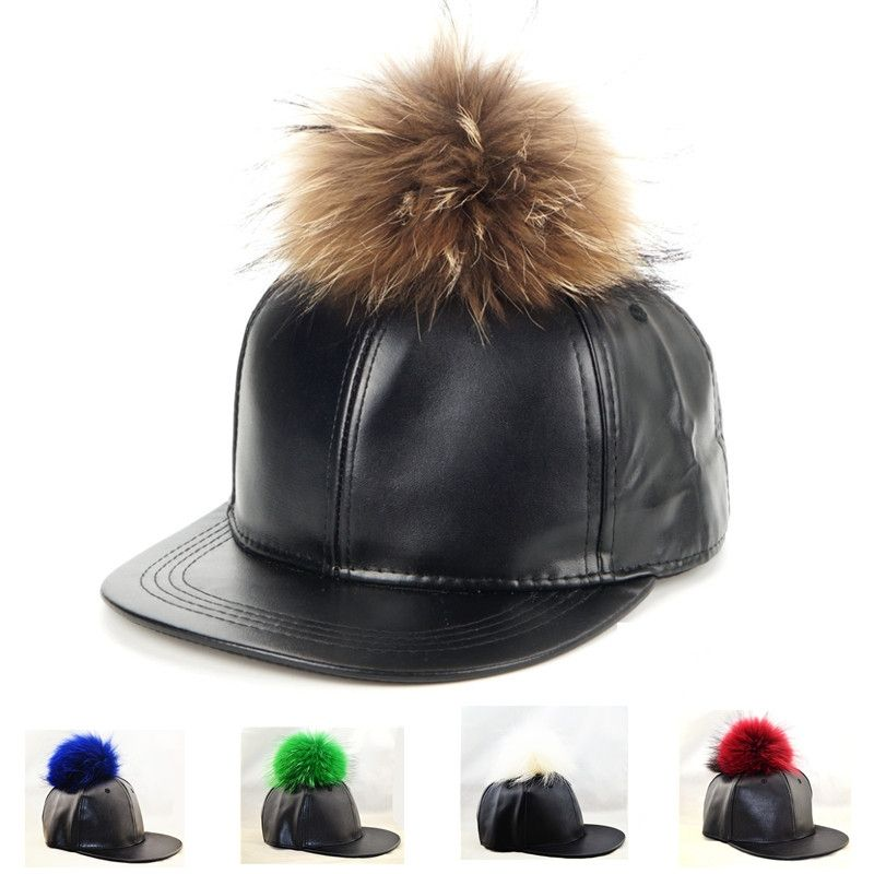 982d909fc1293 Leather baseball cap pom pom real fur hats harajuku style adjustable  snapback fashion caps 5 Colors