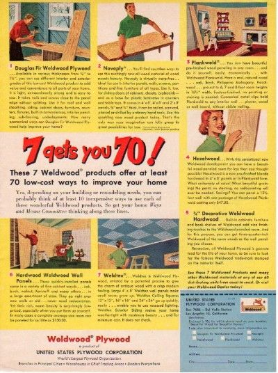 1953 Us Plywood Corp Ad Quot Weldwood Plywood Quot With Images