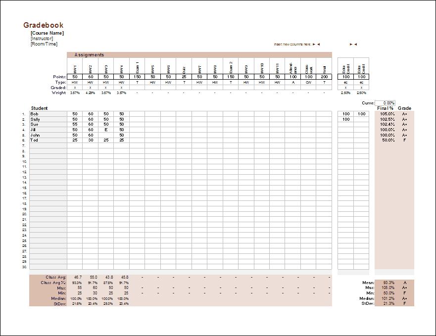 Gradebook Template For Excel Grade Book Template Grade Book Teacher Grade Book