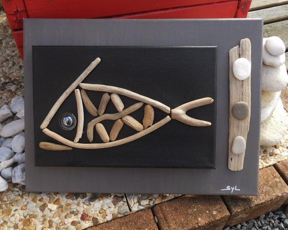 Tableau du poisson ha fish en bois flott driftwood for Tableau bois flotte