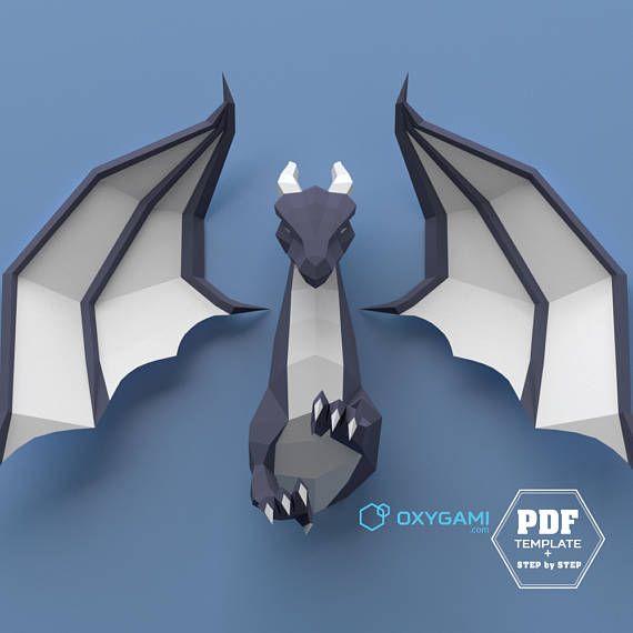 Low Poly Dragon 3D Papercraft Dragon DIY Dragon Do It Yourself