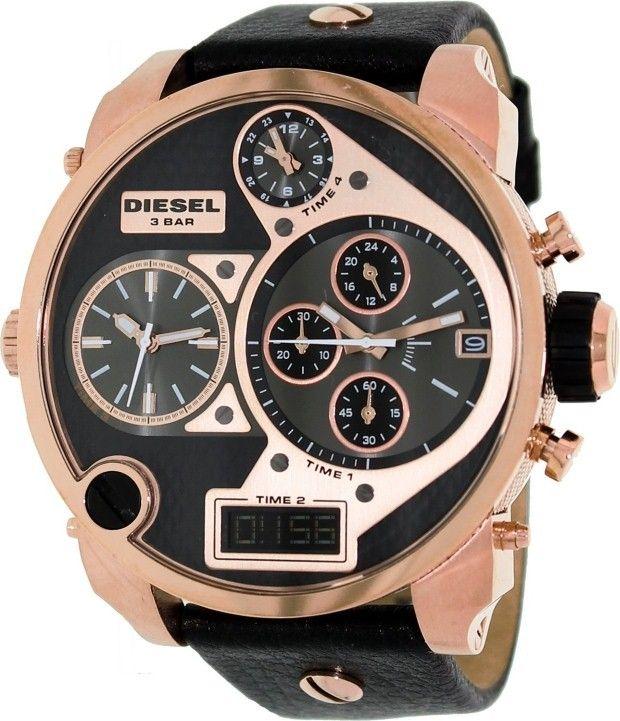 gold watches men diesel velvetq life style emporium diesel men s mr daddy black leather analog quartz watch 698615084180