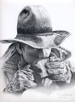 Western art time off cowboy pencil drawing