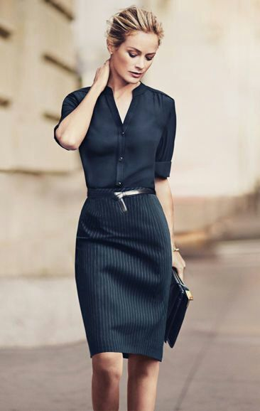 ... casual - office wear - work outfit - rolled up sleeves black silk  blouse + Navy Pinstriped Pencil Skirt + black belt - blouses shirts ladies,  shop ...