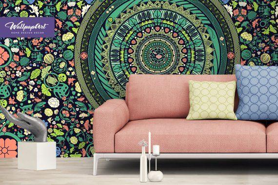 Zen Garden Removable Wallpaper Mandala Wall Mural Bohemian Garden Wallpaper Peel And Stick In 2020 Wallpaper Adhesive Wall Art Zen Garden