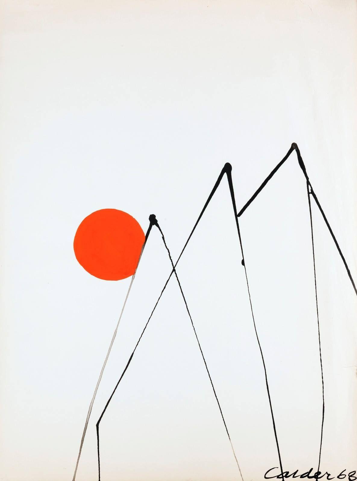 Alexander Calder American 1898 1976 Trois Pics 1968 Gouache