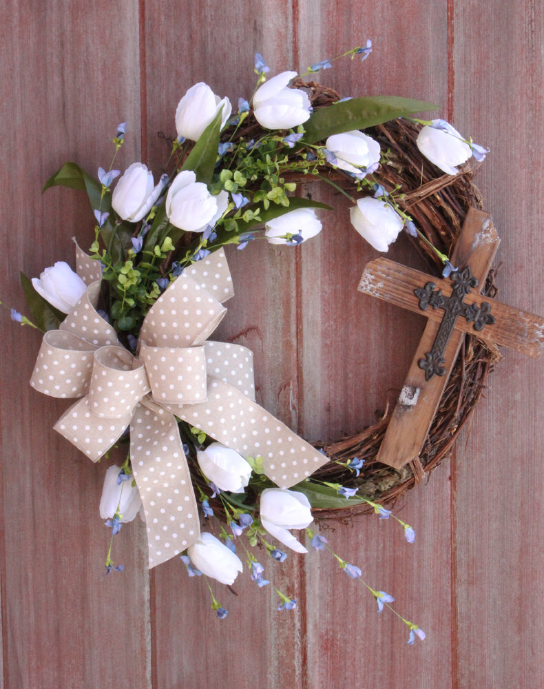 Easter Wreath, Spring Wreath, Cross Wreath, Rustic Grapevine ...