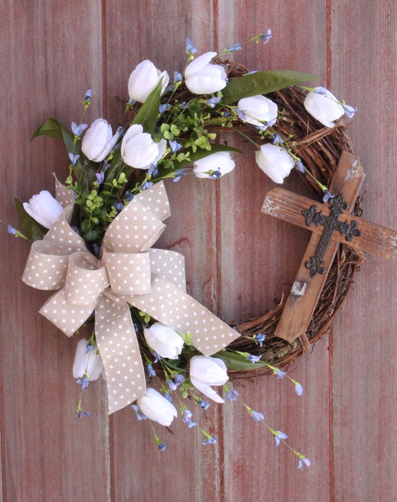 Easter wreath spring wreath cross wreath rustic grapevine easter wreath spring wreath cross wreath rustic grapevine wreath front door wreath welcome wreath white tulip wreath shower gift rubansaba