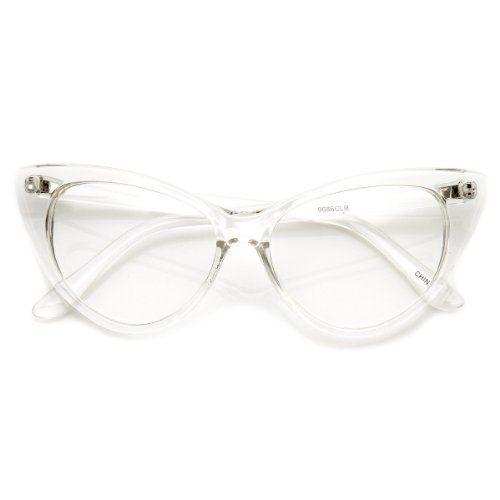 cc650c9d67 ZeroUV - Super Cat Eye Glasses Vintage Inspired Mod Fashion Clear Lens  Eyewear (Clear) ~ Sunglasses ~ Women s Fashion Magazine - Official Site