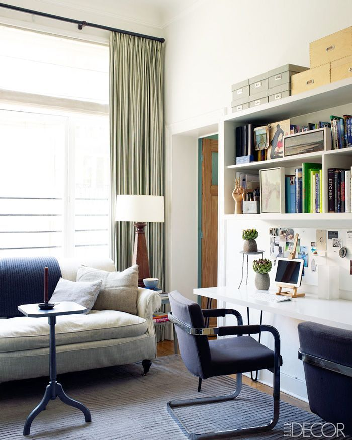 Home Office With Gray Sofa And Striped Curtains