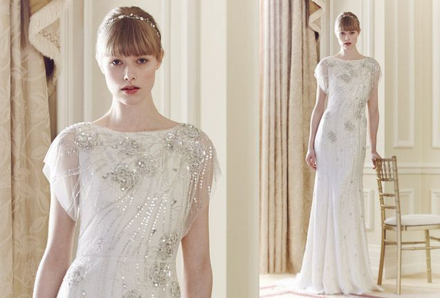 Silver Sequins And Beads Create Shimmering Lines On This Jenny Packham Gown