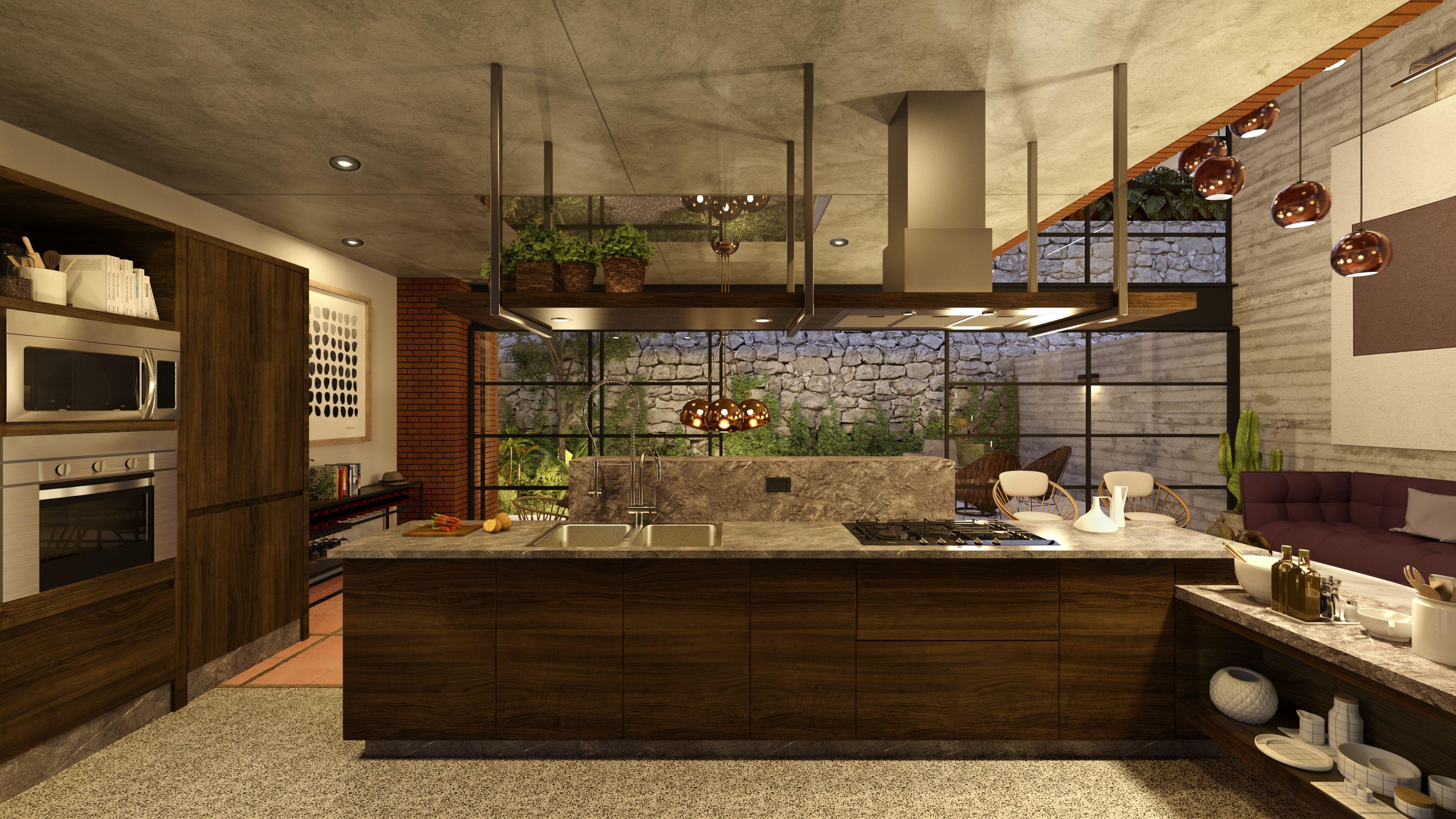 Moderna cocina integral equipada con barra de granito - Campanas de cocina rusticas ...