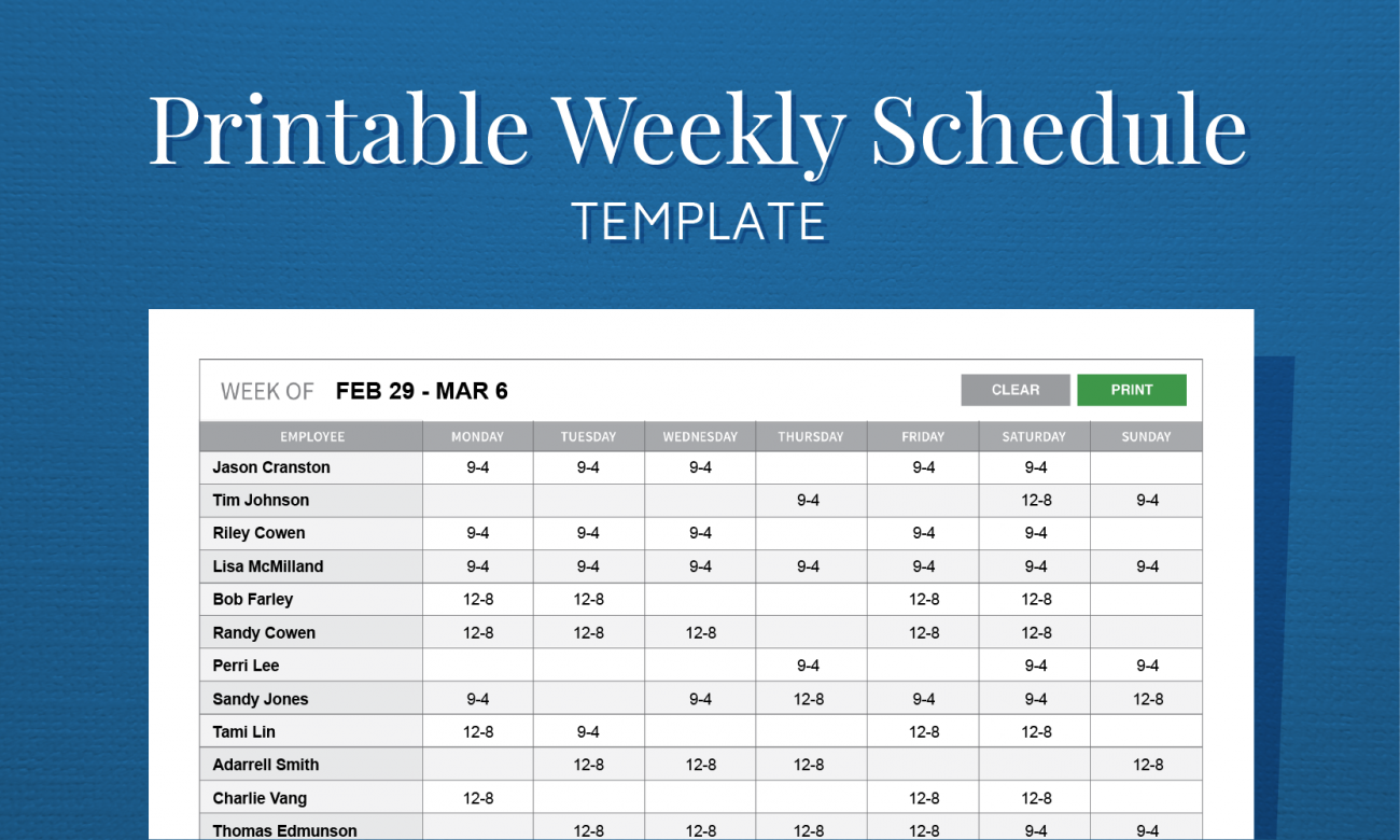 Free Printable Weekly Work Schedule Template For Employee Scheduling ...