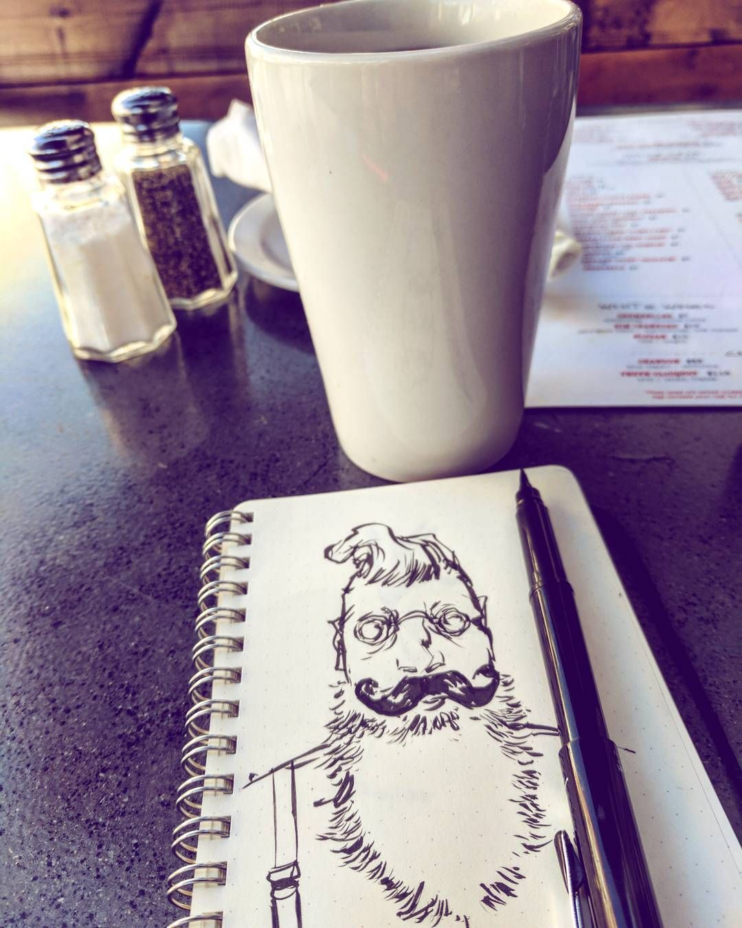 #drinkanddraw today is black #coffee and a #doodle #sketch of a beady-eyed beardy guy with suspenders.  #art #drawing