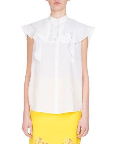 492ea2420ef Givenchy Sleeveless Poplin Ruffle Blouse