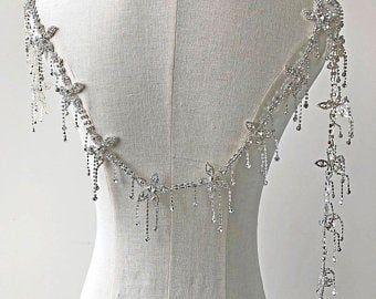 Photo of Iron on Rhinestone Applique V-Neck Diamante Neckline Evening …