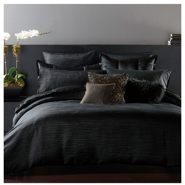 Donna Karan 'Reflection' Duvet Cover (€315) ❤ liked on Polyvore featuring home, bed & bath, bedding, duvet covers, king size bedding, donna karan, textured bedding, jacquard bedding and donna karan bedding
