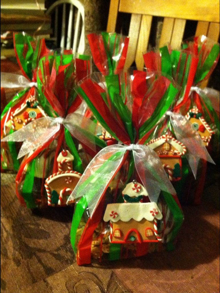 Leah and I stuffed these decorative bags full of our favorite homemade candies, tied a fabric ribbon on along with a Christmas ornament and they made perfect gifts for my coworkers! =)