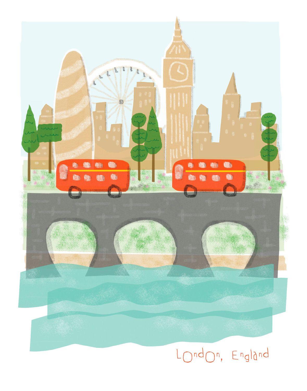 London England art print - 11x14 - big ben city poster illustration wall decor