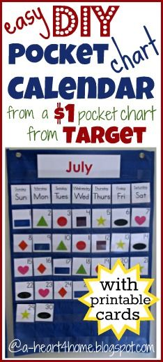 Make your own Calendar Pocket Chart from a $1 Target Pocket Chart