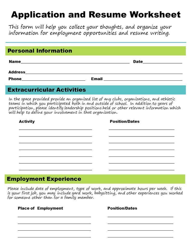 Get A Job! Career Skills Worksheets, School counseling and Job - resume writing worksheet