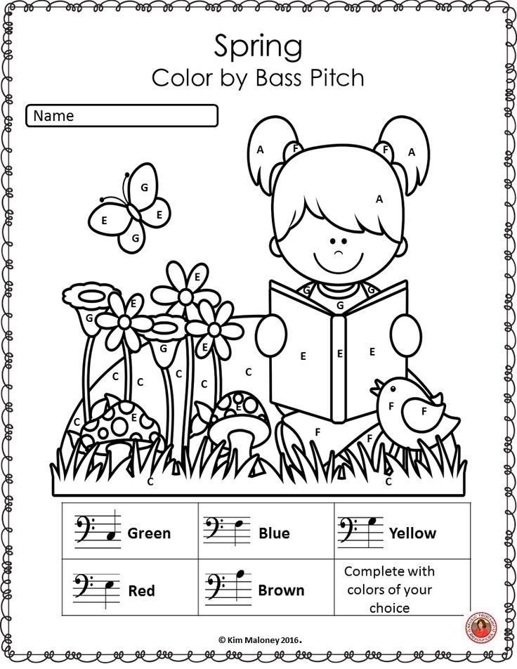 Spring Music Coloring Sheets 26 Color by Music Notes and