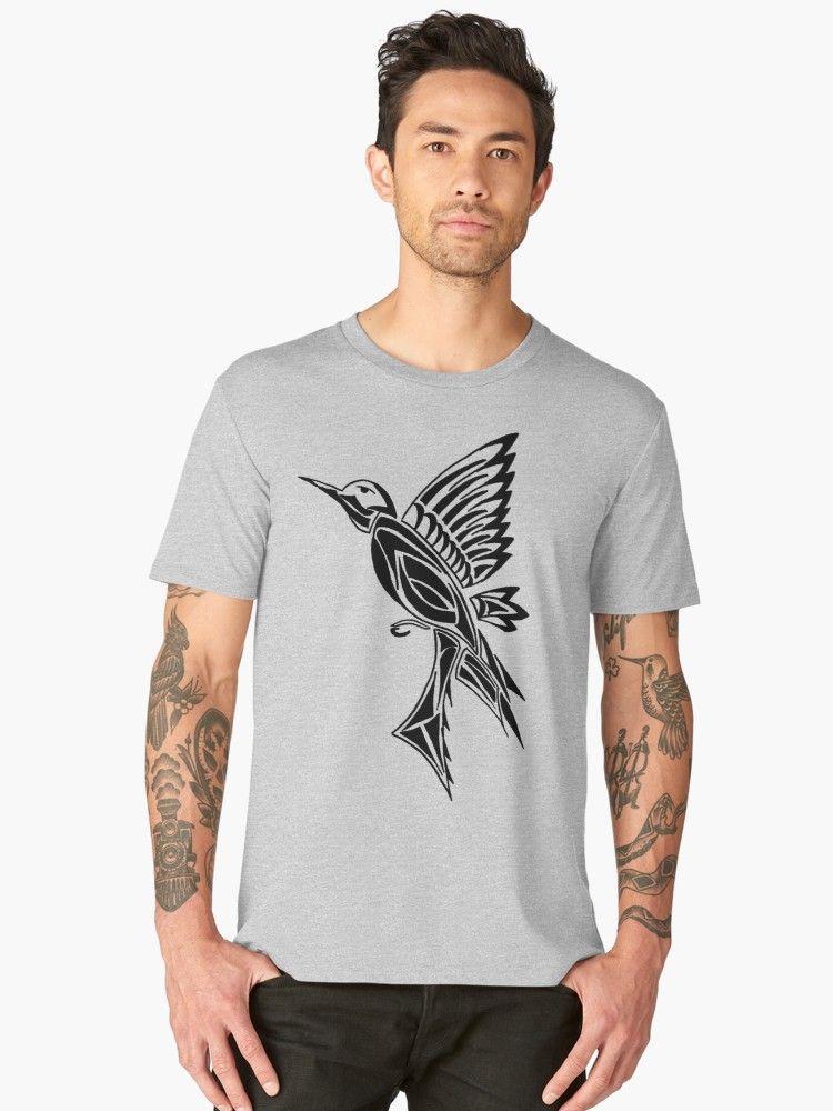 Hummingbird Tattoo on Mint Green Premium TShirt (mit