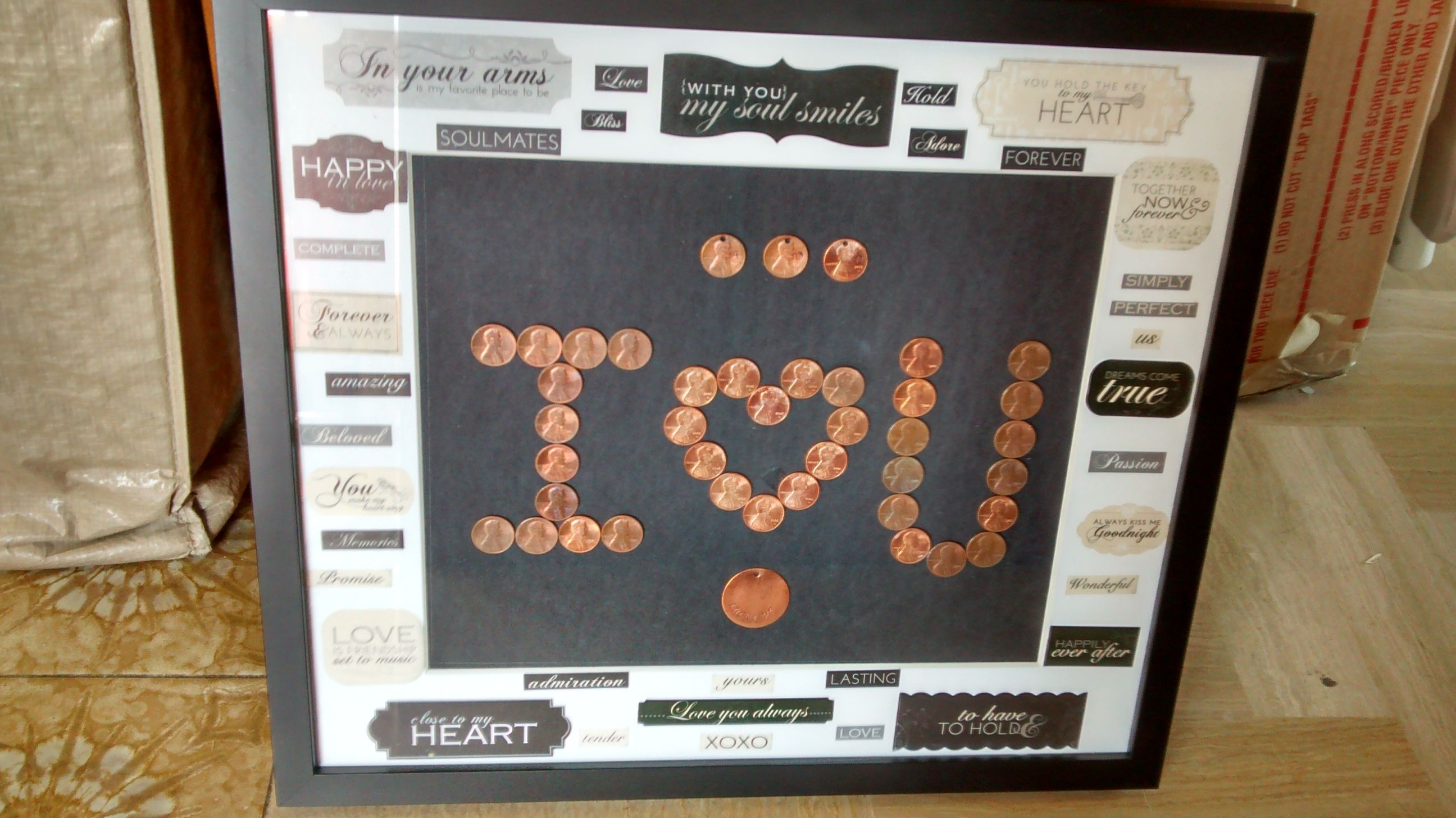 Penny art! i made this for my husband for our 7 year wedding
