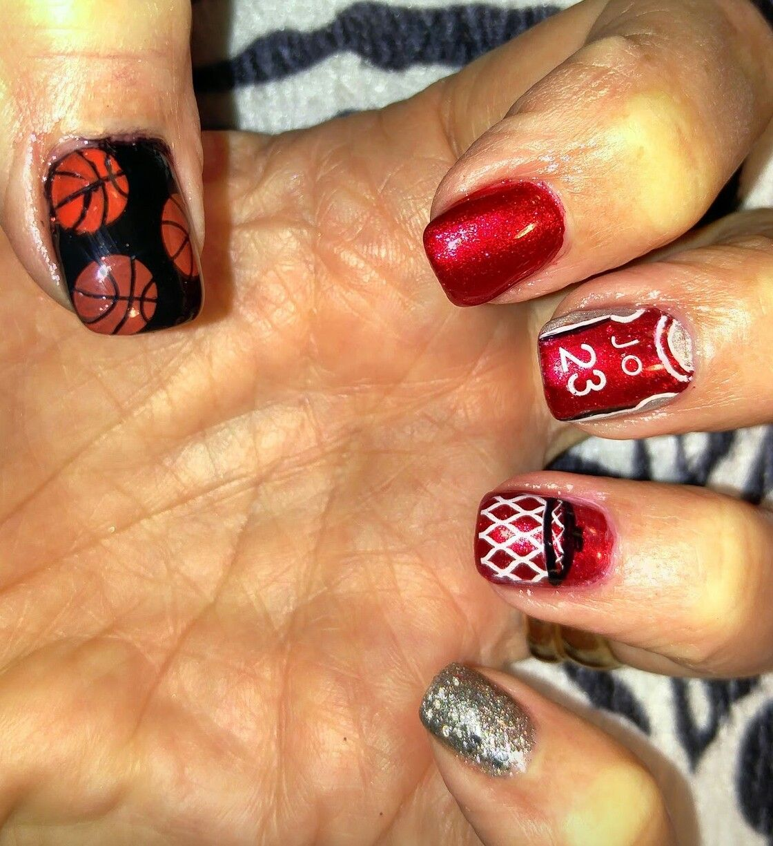 Basketball Nails Acrylic With Stamped Nail Art In Thumbs And Free Hand On Ring Middle Fingers The Numbers Letters Were
