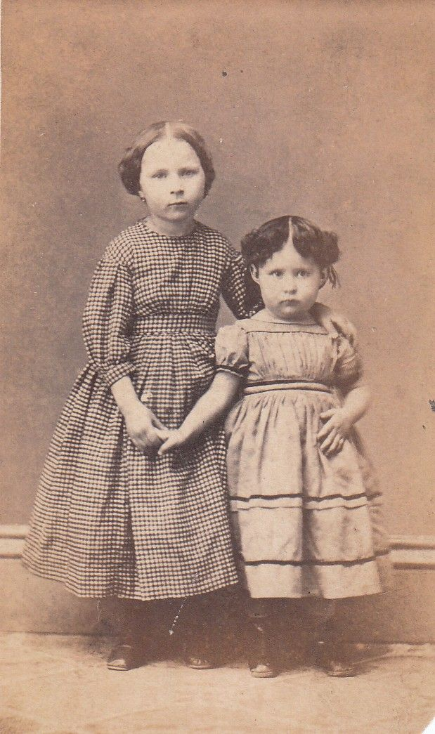 1860s girl with dress too small and tucks let out | Children 1860's