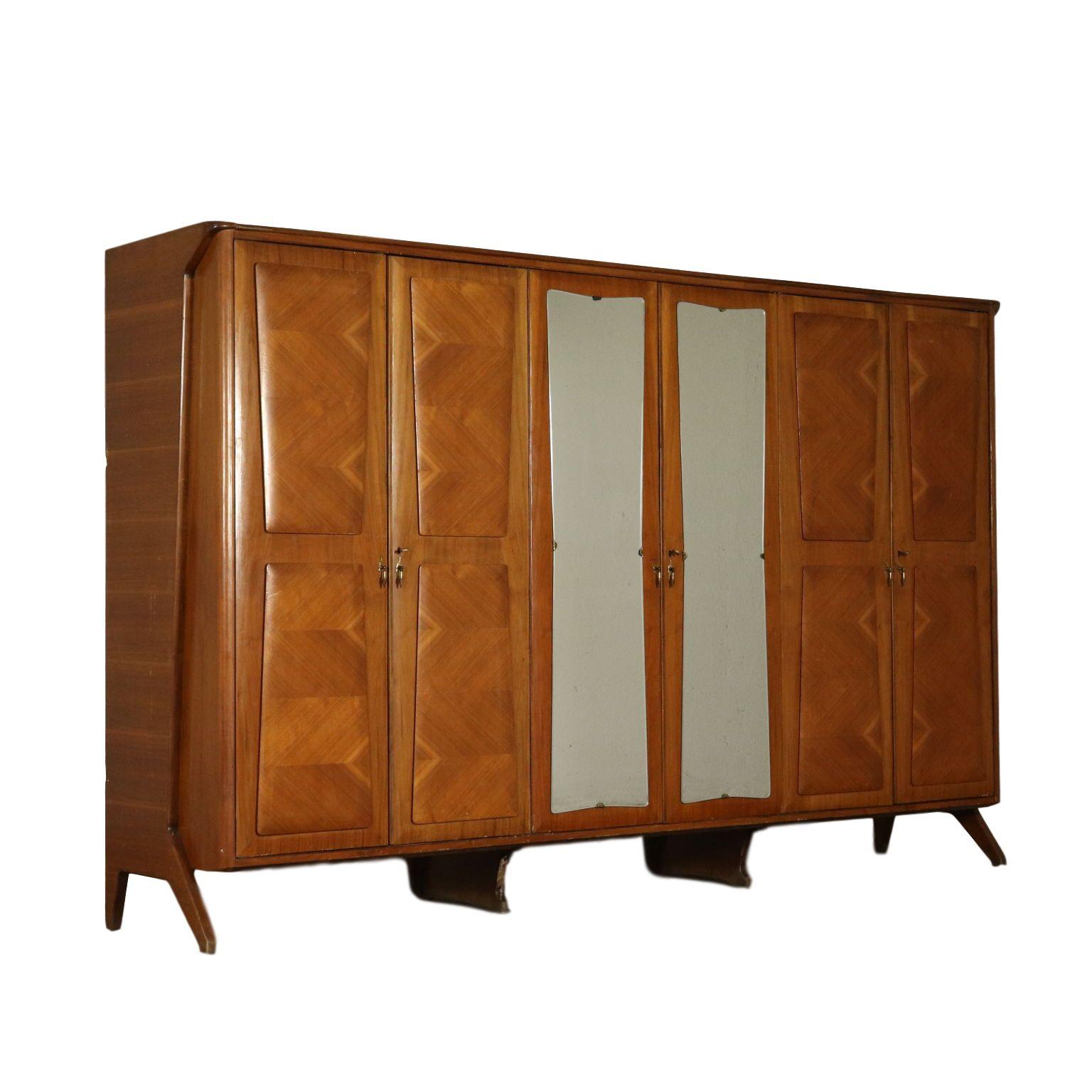 Kleiderschrank Mit Spiegel Nussbaum Furnier Vintage Italien 50er Jahre Mirrored Wardrobe Walnut Veneer Wooden Wardrobe