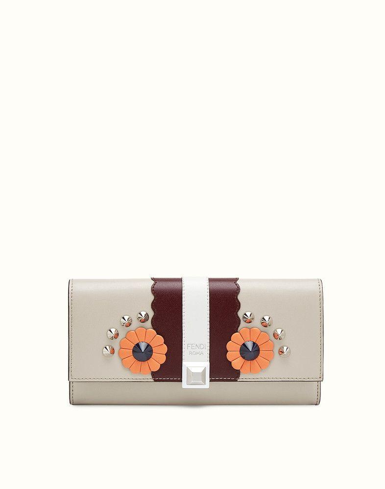 FENDI CONTINENTAL - Portefeuille continental en cuir gris et bordeaux -  view 1 detail 2504111503f
