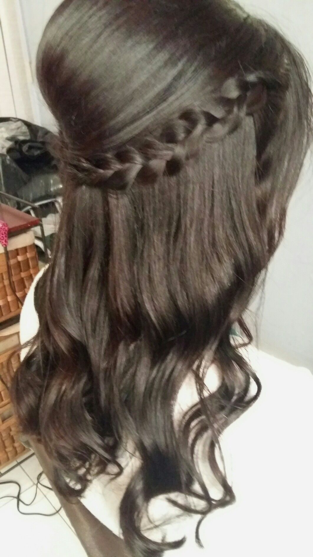 Fácil peinados semi recogido Fotos de ideas de color de pelo - Peinado Semi recogido Tupé con trenza y ondas Por ...