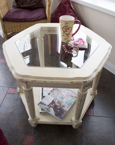 Hexagonal Gl Top Coffee Table Hand Painted Annie Sloane Old Ochre Shabby Chic Ebay