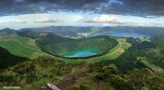 Green Volcanic Mountains, Azores, Portugal.