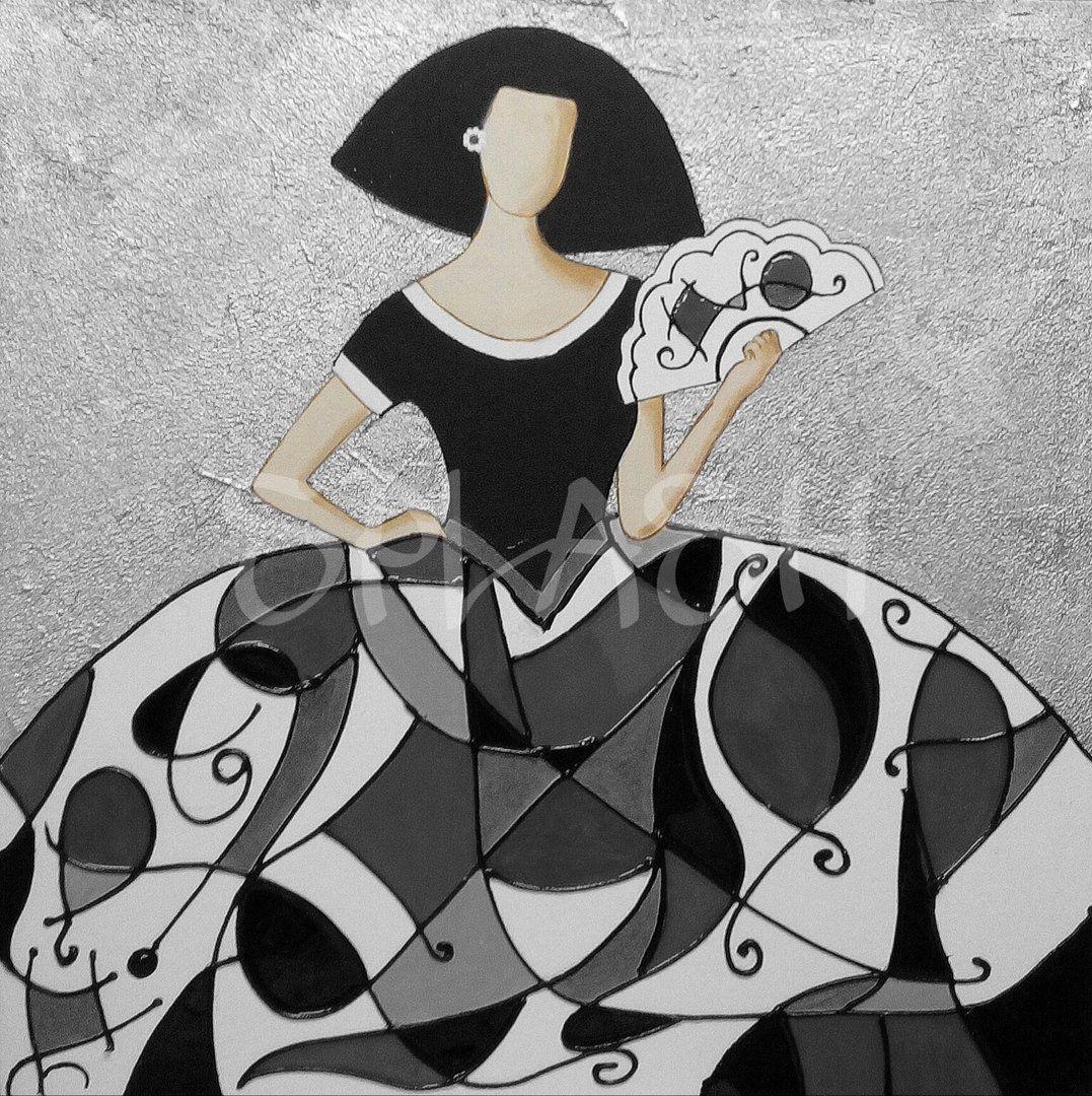Menina moderna en tonos plata y negro 2 sp798 meninas - Cuadro meninas moderno ...