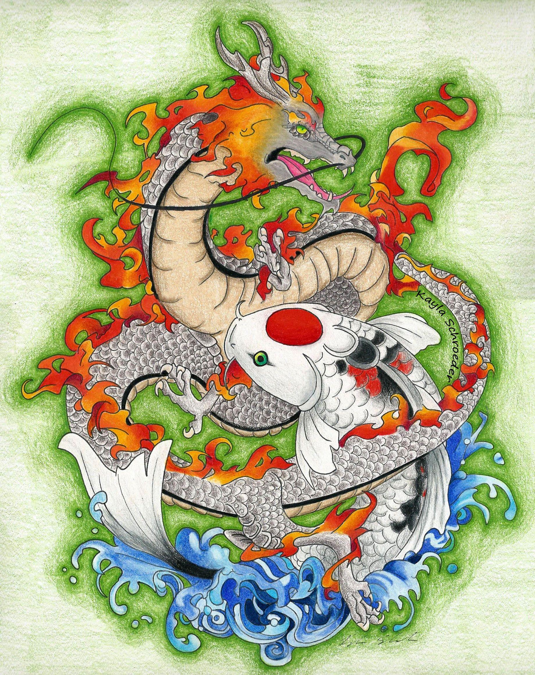 Dragon and Koi Fish for my final art portfolio for school. { http ...