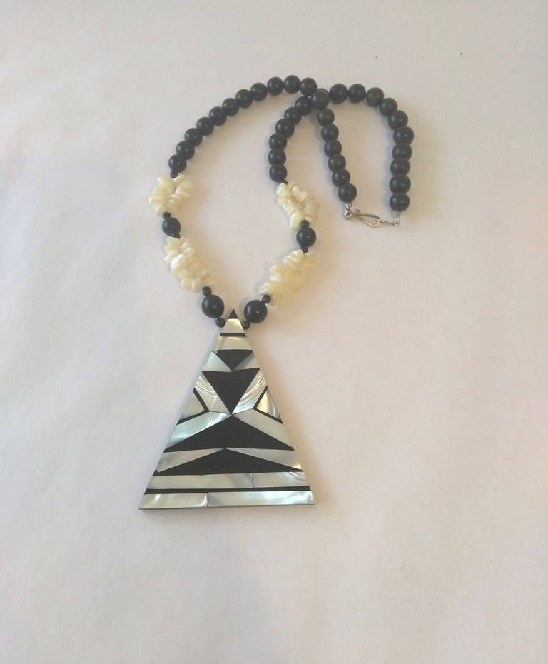 Vintage geometric inlay mop white agate pendant bead necklace black vintage geometric inlay mop white agate pendant bead necklace black resin round bead necklace large statement pendant aloadofball Images