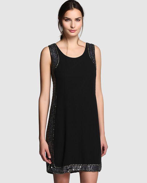 3a5be0153a Vestido de mujer Fiesta El Corte Inglés en negro con pedrería en los  costados