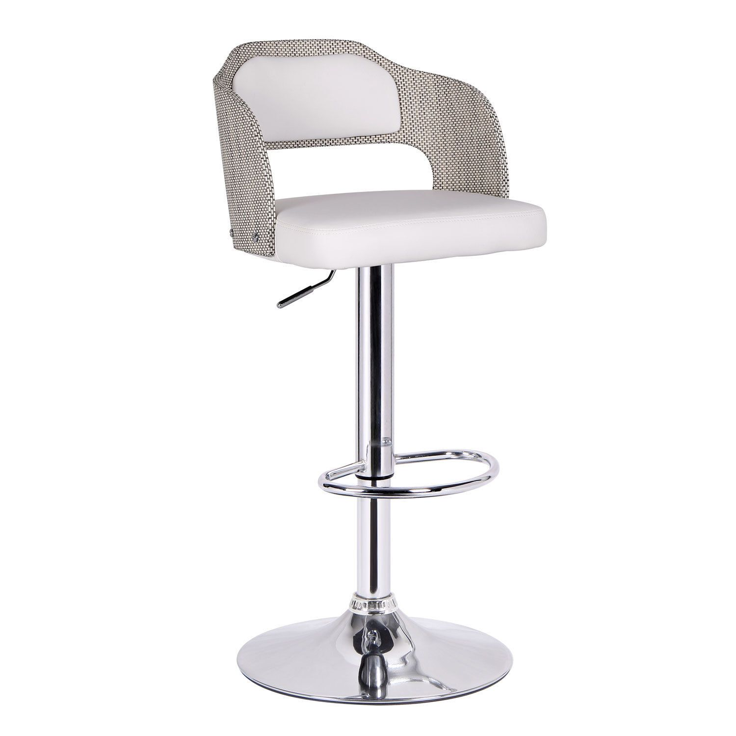 Marvelous Adeco White Leatherette Bent Wood Chrome Hydraulic Lift Low Back Adjustable  Pedestal Bar Stool   Overstock™ Shopping   Great Deals On Bar Stools Good Ideas
