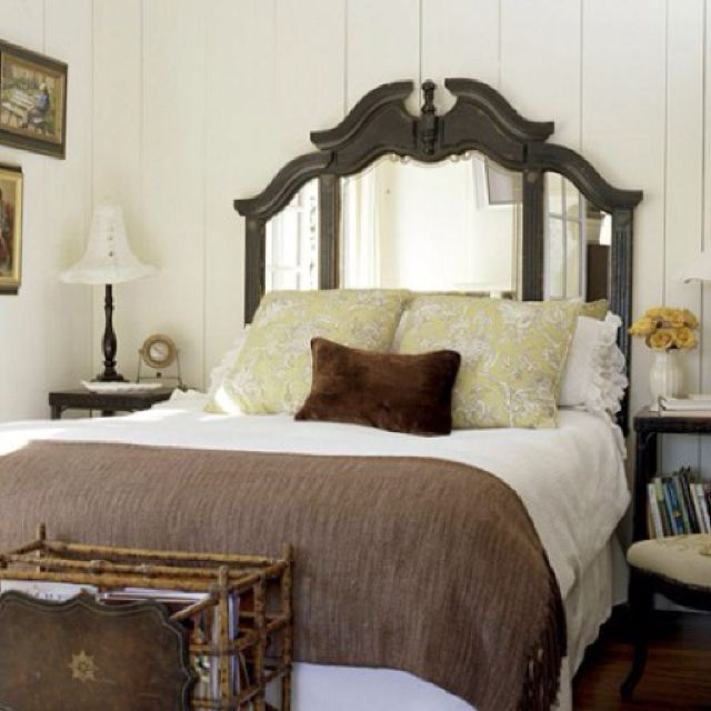 A Dresser Mirror Repurposed As Headboard Perfect I Love Mirrors Behind Beds Especially In My Well Lit Room But This Idea Adds