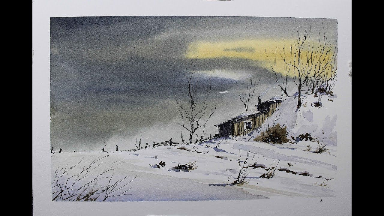 Skecthing Winter Scene Pen And Wash And Watercolor Tutorial Nil