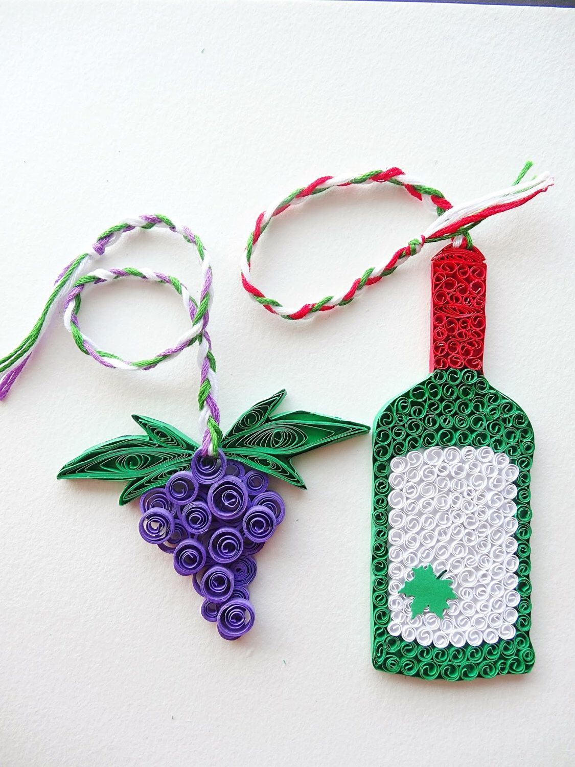 Red Wine bottle and grapes paper quilled unique Bookmarks, kitchen ...