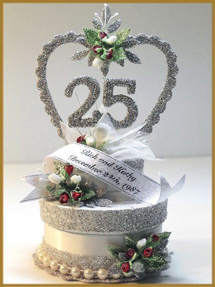 25th wedding anniversary cake topper image patricia for 25th wedding anniversary decoration