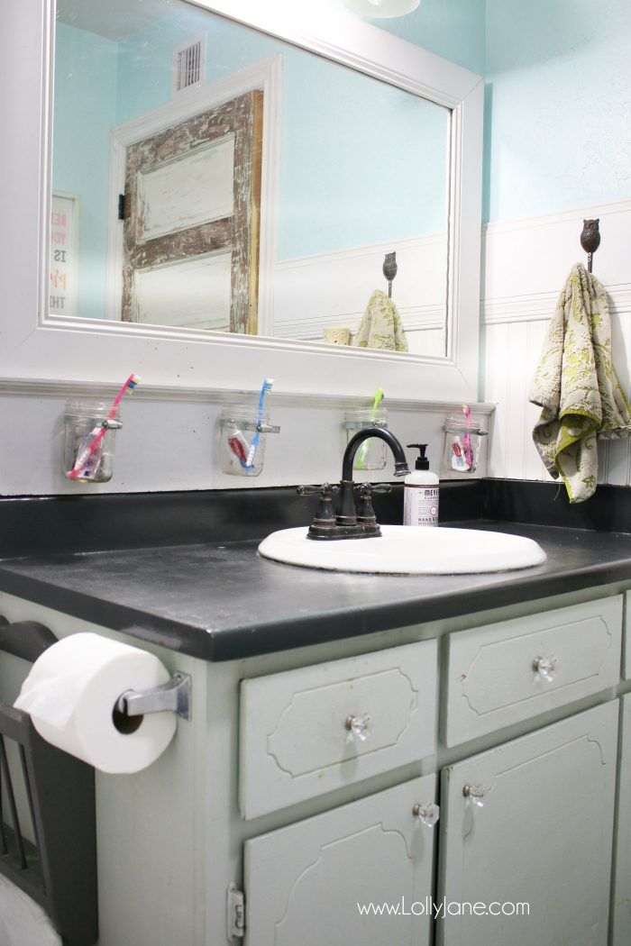 i chalk painted my bathroom countertops i actually love my chalk paint laminate countertops they are a fast solution to replace bathroom counters - Laminate Bathroom Countertops