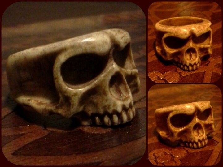 Hand Carved Skull Ring Bone Hand Carved Jewelry Bone Carving Skull Carving