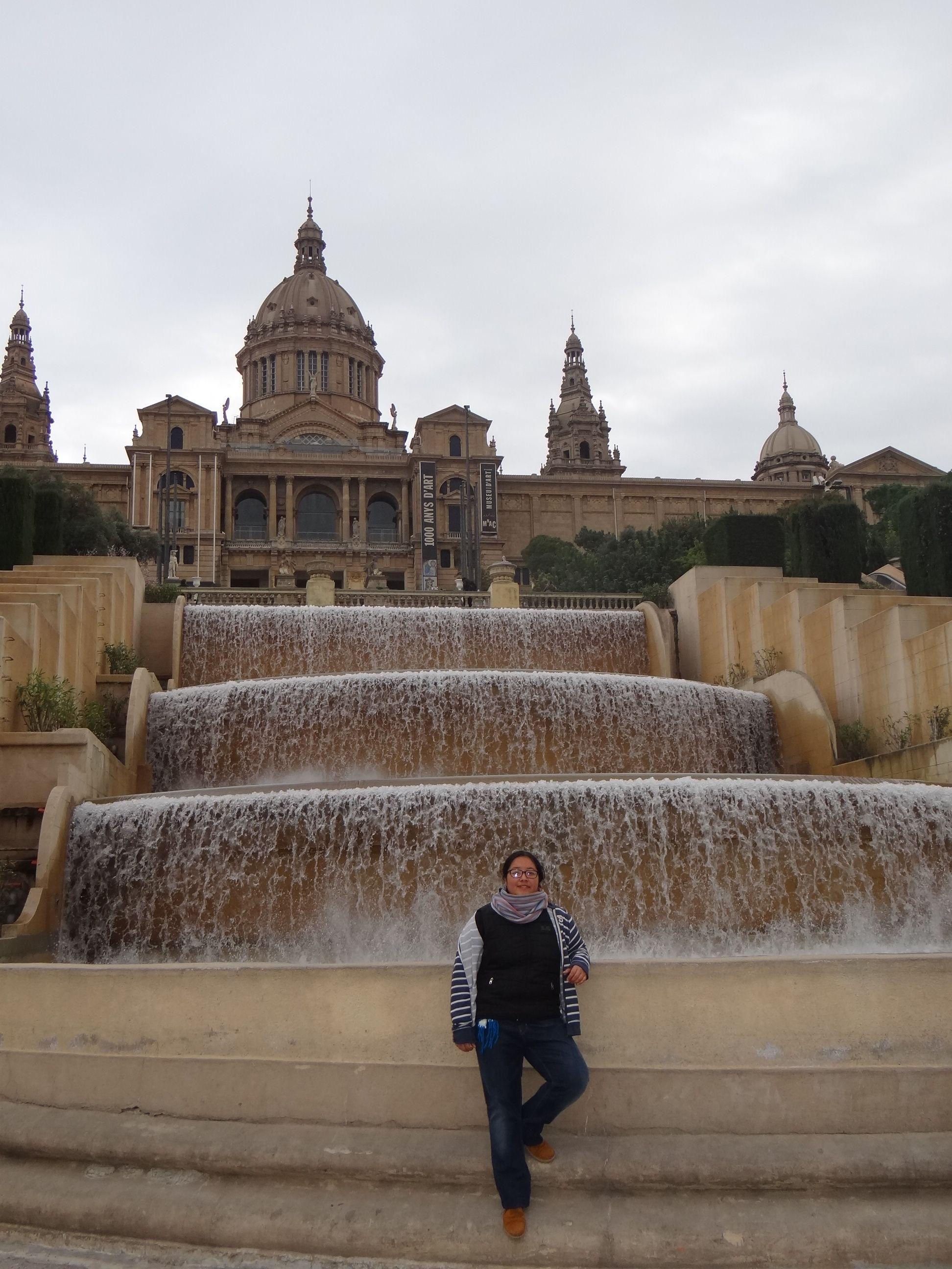 Parada rumbo al Palacio de Montjuic